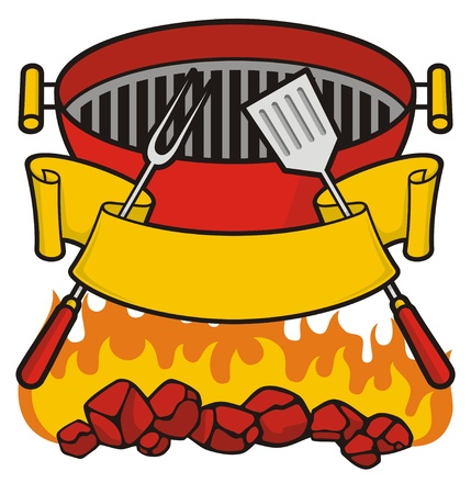 Barbeque grill over flaming charcoal, fork and spatula with scroll banner.