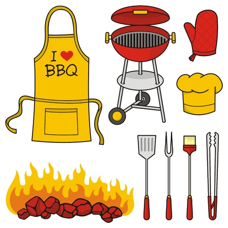 tongs: A set of barbeque icons isolated on white background. Illustration