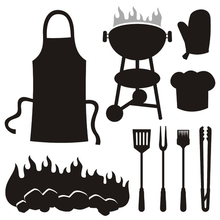 tongs: A set of barbeque silhouette icons isolated on white background.