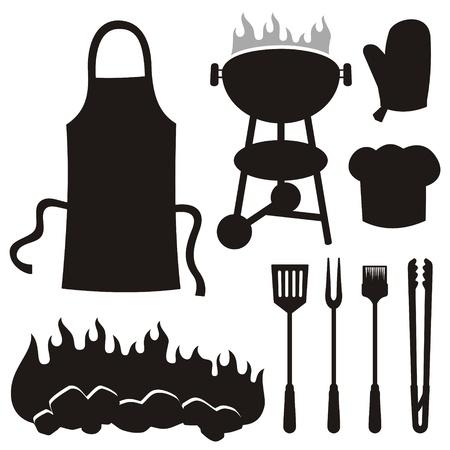 tongs: Un conjunto de iconos de silueta de barbacoa aisladas sobre fondo blanco. Vectores