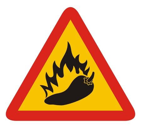 red hot pepper: Triangle warning sign with a pepper and flame silhouette. Illustration