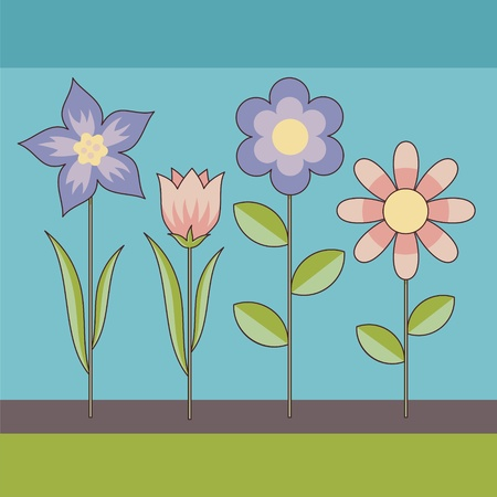 Decorative background of cartoon flowers in retro color tones.