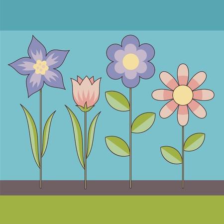Decorative background of cartoon flowers in retro color tones. Stock Vector - 10615605