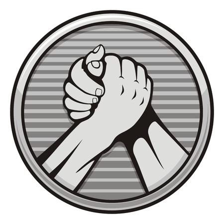 Two hands icon in arm wrestling, gray round medal isolated on white background.