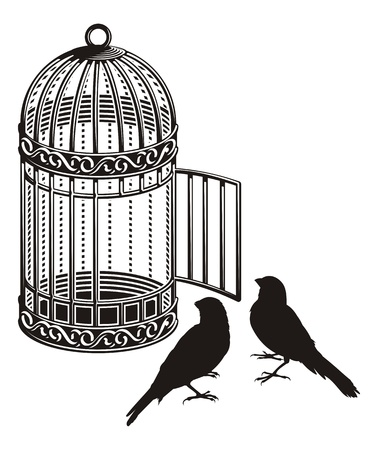 cage: Metallic bird cage with open door and two bird silhouettes.
