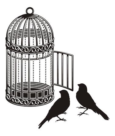 gabbie: Uccello gabbia metallica con porta aperta e due sagome di uccelli. Vettoriali