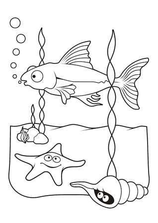 Underwater scene with fish starfish and shell cartoons, line art for coloring book page. Vector