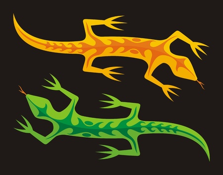A green and an orange lizard isolated on black background. Stock Vector - 11092911
