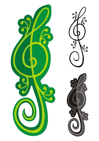 Treble clef shaped like a green lizard isolated on black background. Stock Vector - 11092913