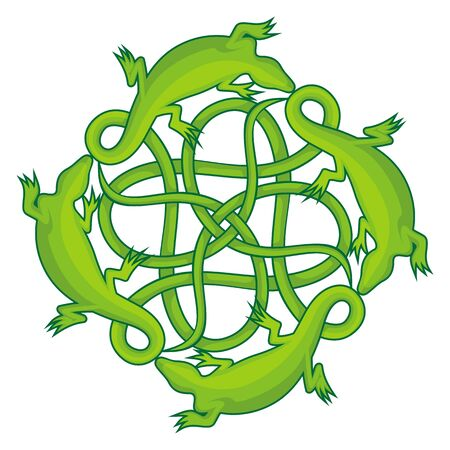 gecko: Four green lizards forming a celtic square knot with their tails.