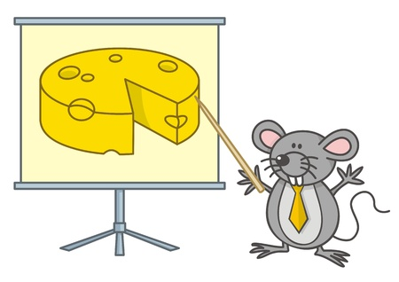 Mouse businessman cartoon points yellow cheese on a board. Stock Vector - 11092915