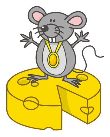 Mouse champion cartoon with medal standing on yellow cheese. Vector