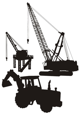 construction crane: Vector silhouettes of Construction Machinery.