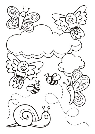 coloring: A spring scene with baby animal cartoons, butterflies, birds, bee and a snail, line art for coloring book page.