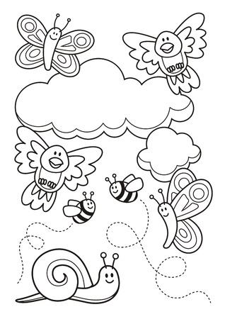 caricaturas de animales: Una escena de la primavera con dibujos animados animal beb�, mariposas, p�jaros, abejas y un caracol, dibujos lineales para colorear p�gina del libro.