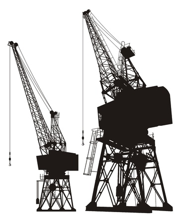 loading dock: Silhouette of a dockyard cargo crane, two different angles.