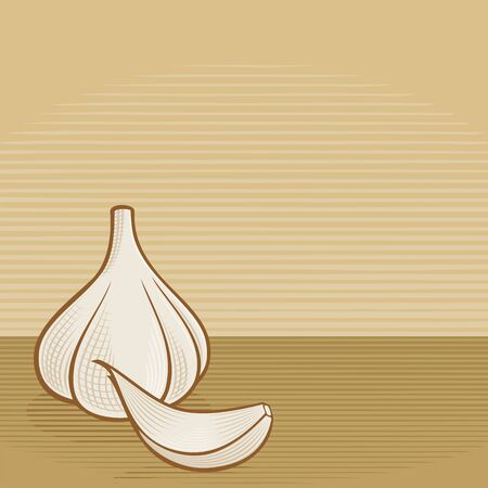 clove: Garlic bulb with clove icons with woodcut shading on beige background.