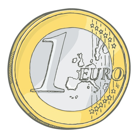 euro coin: Grunge sketch of one euro coin isolated on white. Illustration