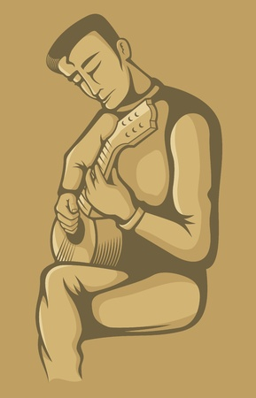 Young man playing music instrument with strings on beige background. Vector