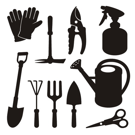 cultivator: A set of gardening tool silhouette icons isolated on white background. Illustration