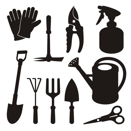 Un conjunto de iconos de herramientas de jardinería silueta aislados sobre fondo blanco. Ilustración de vector