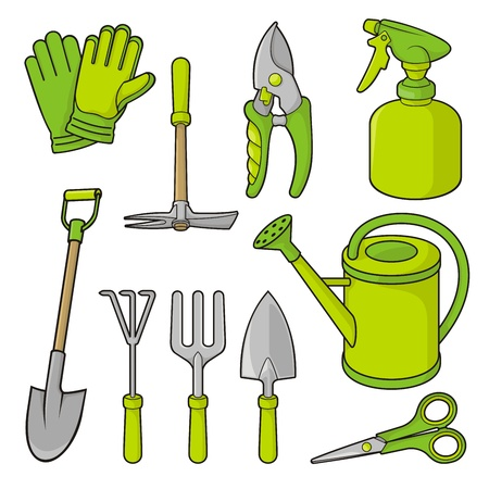 spade: A set of gardening tool icons isolated on white background.