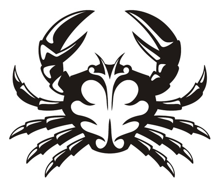 cancer crab: Black and white tribal icon of a crab.