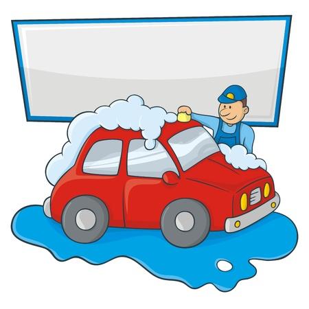 auto sign: Caricatura de un hombre en forma de mano azul de lavar un coche rojo con copia espacio para su mensaje.