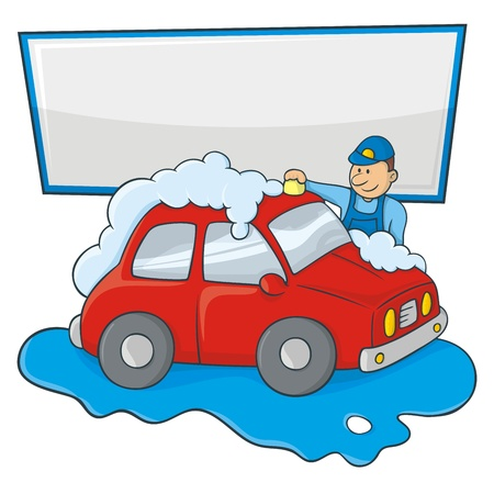car clean: Cartoon of a man in blue form hand washing a red car with copy space for your message. Illustration