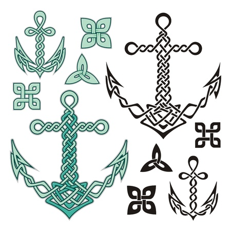 Anchor illustrations inspired from Celtic knot designs. Vector