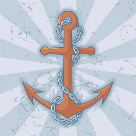 Anchor with chain icon on grunge light blue background. Stock Vector - 14813412