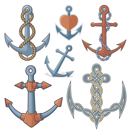 Set of six anchor icons isolated on white background. Stock Vector - 14813408