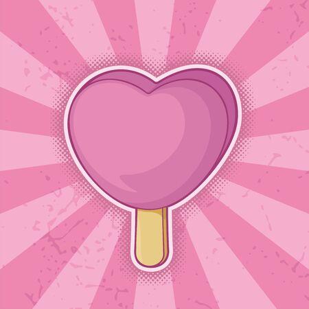 gelato stecco: Rosa a forma di cuore gelato bastone icona grunge.