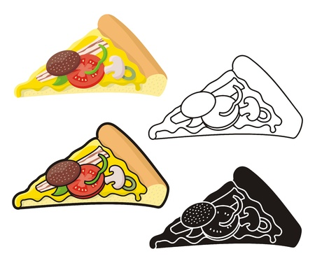 Pizza slice illustration in four versions. Vector