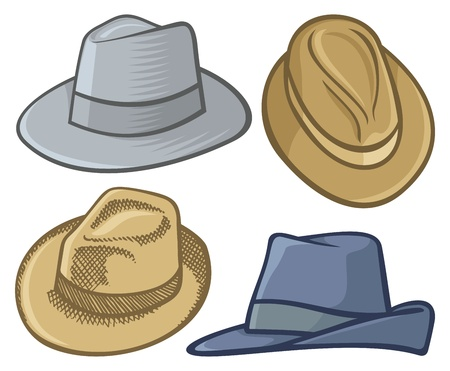 fedora: Four fedora hat illustrations isolated on white. Illustration