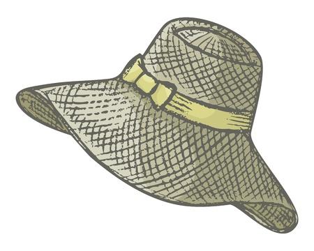 chapeau de paille: Chapeau d'été de femme avec ruban petit noeud sur fond blanc. Illustration