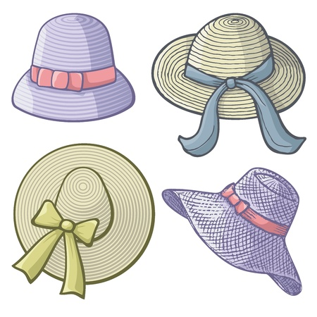 hatband: Collection of womens hats isolated on white background.