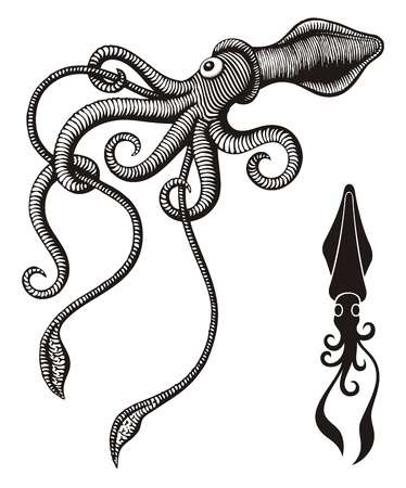 Black and white monster squid woodcut.