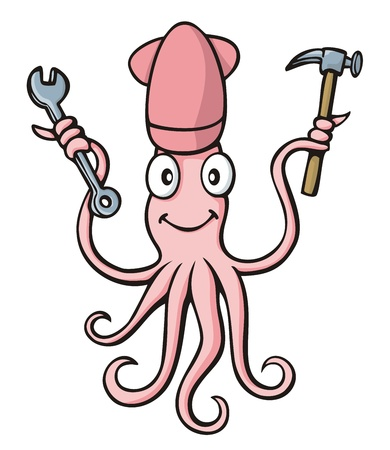 cephalopod: Pink smiling squid cartoon with wrench and hammer on white background.
