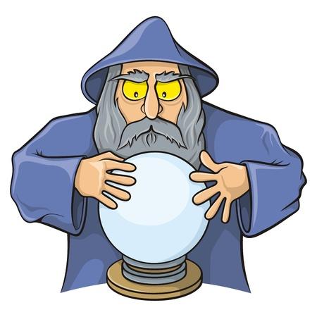 adivino: Caricatura viejo mago mirando bola mágica.