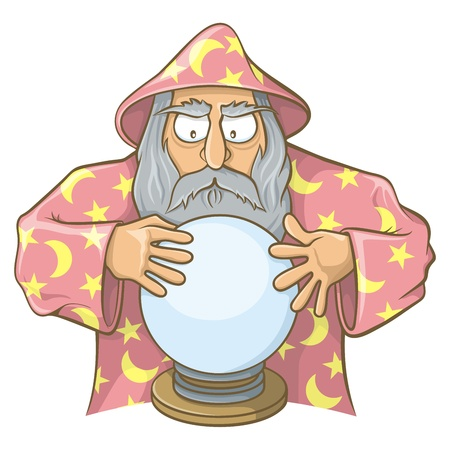 Old wizard cartoon in pink cape looking at magic ball. Vector