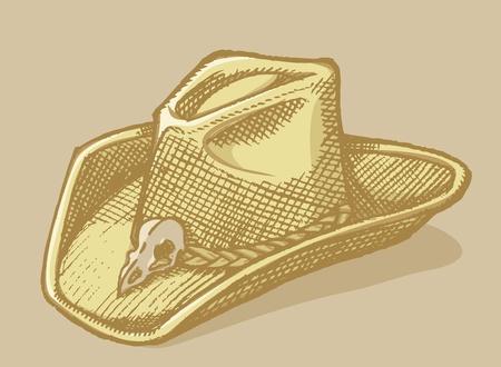 brimmed: hat sketch with bird scull on beige background. Illustration