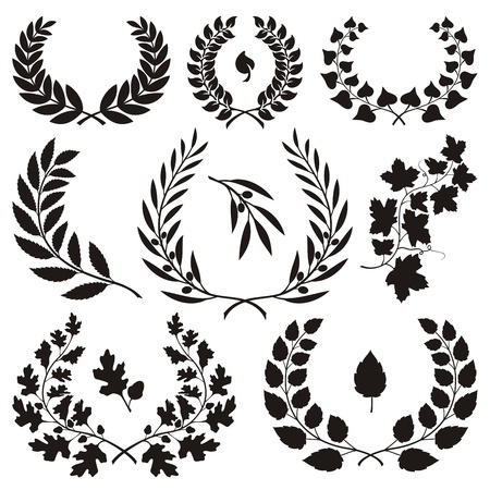oak leaves: Various wreath icons isolated on white background.