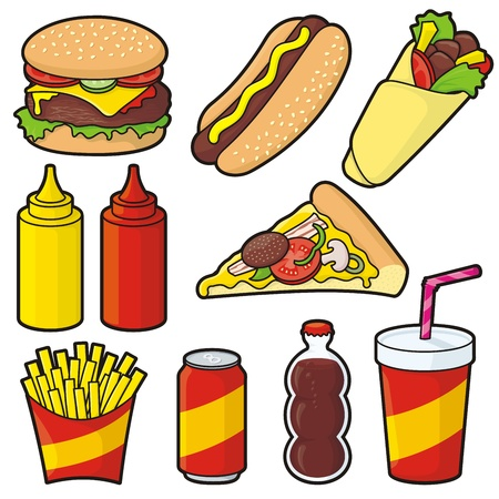 Fast food icons isolated on white Vector
