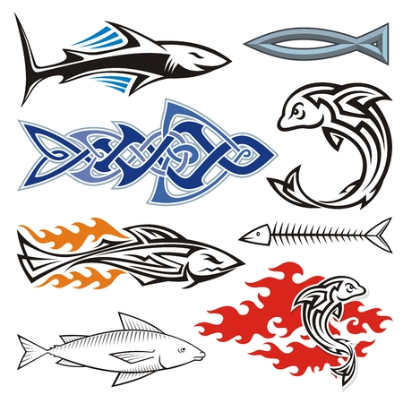 Assorted fish icons isolated on white. Vector
