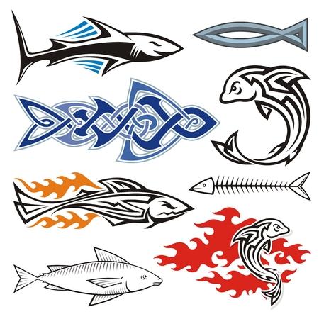 illustration of black fishbone: Assorted fish icons isolated on white.