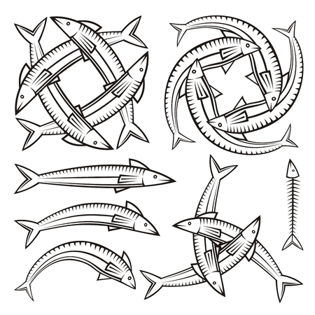 illustration of black fishbone: Single and entwined fish icons isolated on white background.
