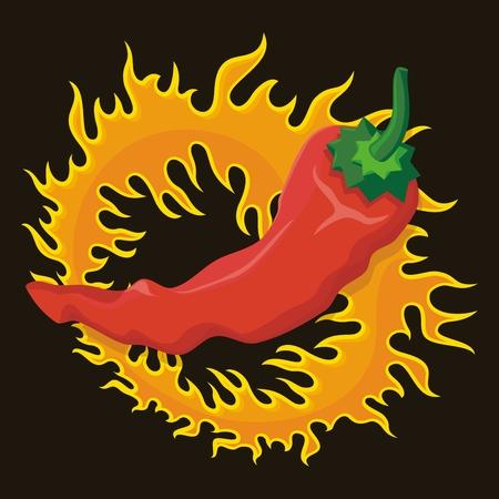 Hete rode peper over een cirkel van vuur geïsoleerd op zwart