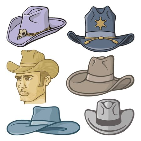 brim: Collection of cowboy hats isolated on white.