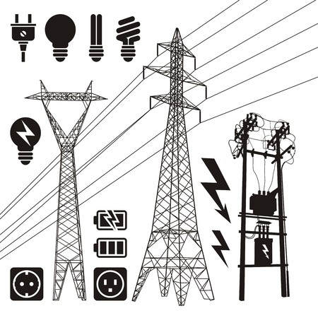 electricity: Three power line pylon silhouettes with additional electricity icons.